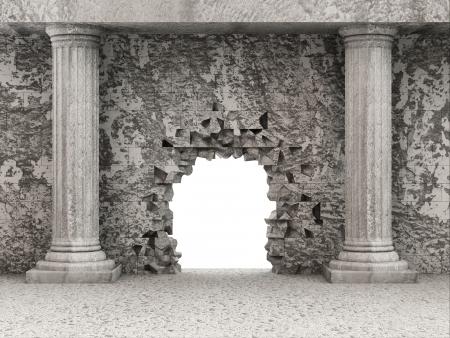 classic: Interior cl�sico antiguo con las columnas y la pared rota