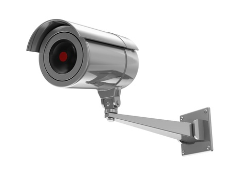 cctv camera: Metallic Security Camera isolated on white background