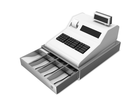 counter service: Open Cash Register isolated on white background Stock Photo