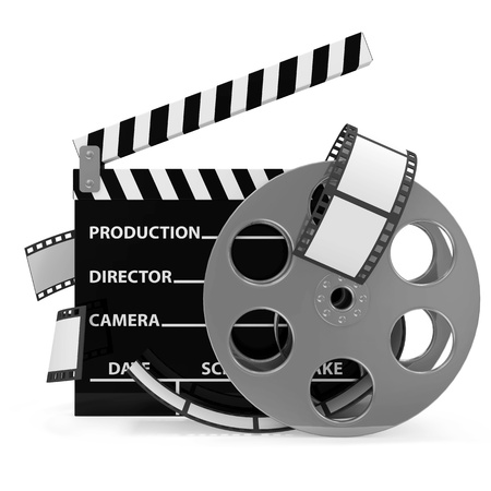 Cinema Clap and Film Roll isolated on white background photo