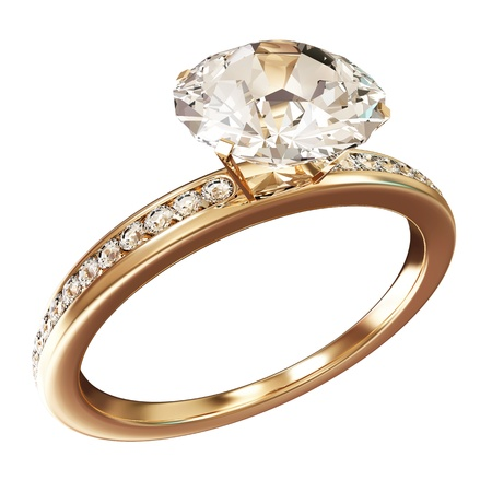 Anillo de bodas de oro con diamantes aislados sobre fondo blanco