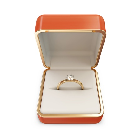 Golden Wedding Ring with Diamond in a Box isolated on white background Stock Photo - 20273139