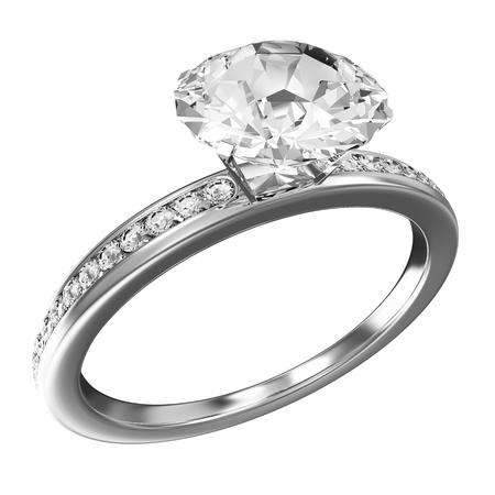 verlobung: Platinum Wedding Ring mit Diamanten auf weißem Hintergrund