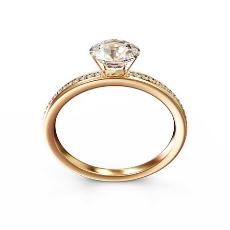 ring engagement: Anillo de bodas de oro con diamantes aislados sobre fondo blanco Foto de archivo