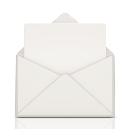 sent: Open Envelope and blank letter on white background Stock Photo