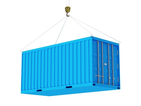 white goods: Cargo Container with a Hook isolated on white background