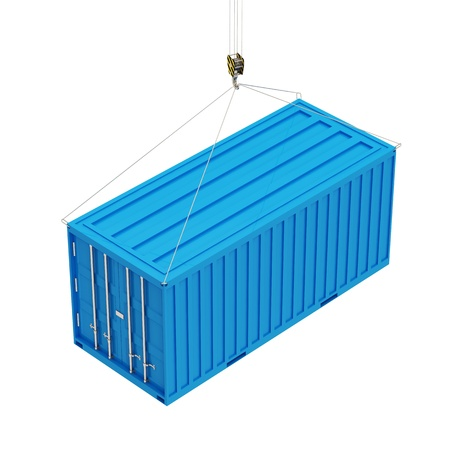 seafreight: Cargo Container with a Hook isolated on white background
