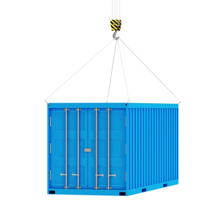 Cargo Container with a Hook isolated on white background Stock Photo - 20273150