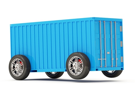 merchandize: Cargo Container on Wheels isolated on white background