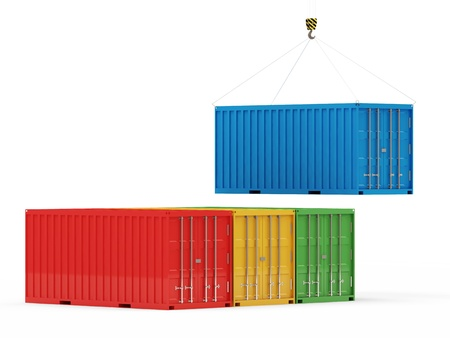 lift lock: Cargo Containers with a Hook isolated on white background