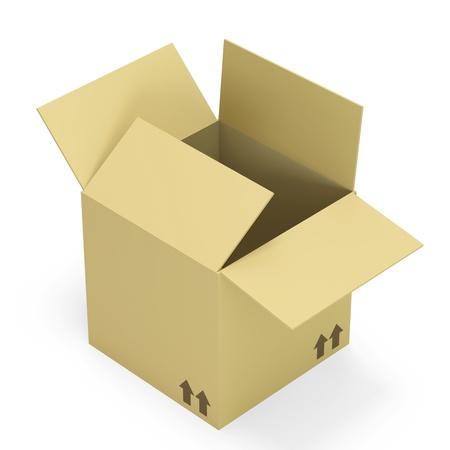 merchandize: Empty opened cardboard box isolated on white background