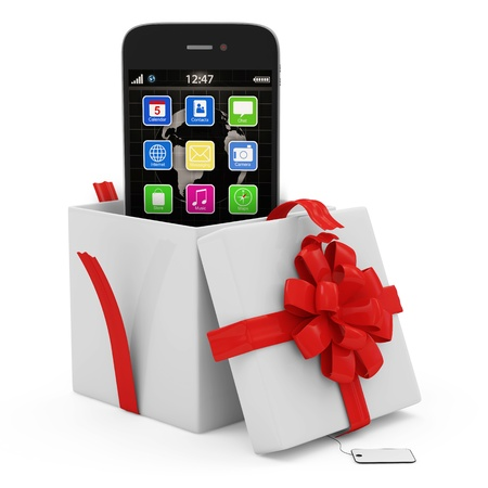 Opened Gift Box with Touchscreen Smartphone isolated on white background photo