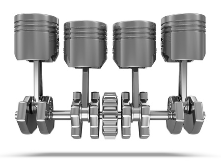 Pistons and Crankshaft isolated on white background  4 Cylinder Engine  photo