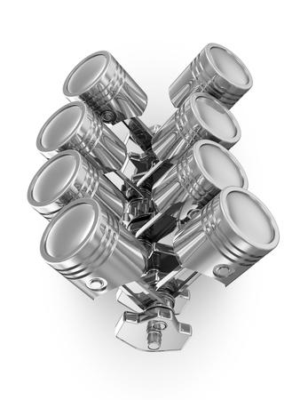 crankshaft: Pistons and Crankshaft isolated on white background   V8 Engine