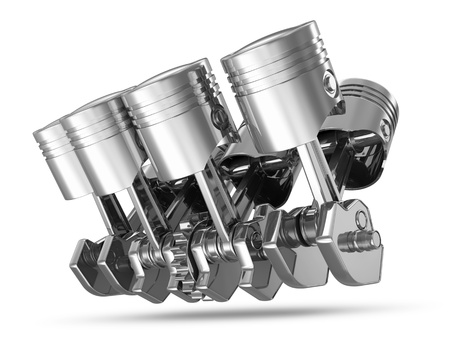 automobile industry: Pistons and Crankshaft isolated on white background   V8 Engine