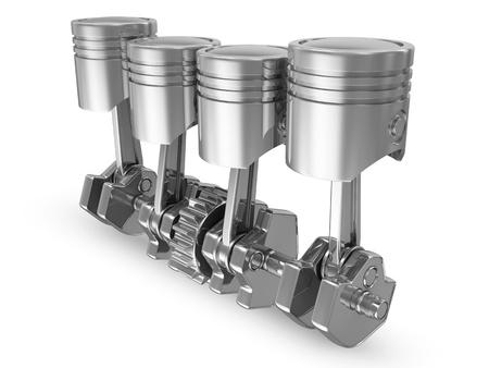cylinders: Pistons and Crankshaft isolated on white background  4 Cylinder Engine  Stock Photo