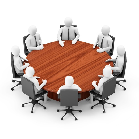negotiation: 3d Men Sitting at a Round Table over white background Stock Photo