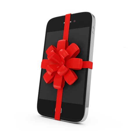 Smart Phone with Red Ribbon and Bow isolated on white background photo