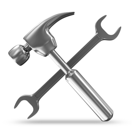 claw hammer: Metal Hammer and Spanner on white background