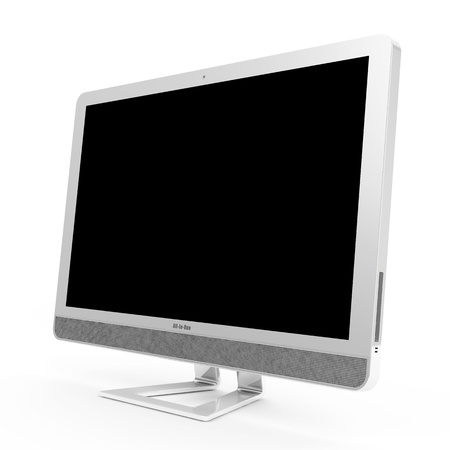 all in one: Modern All In One Computer isolated on white background Stock Photo