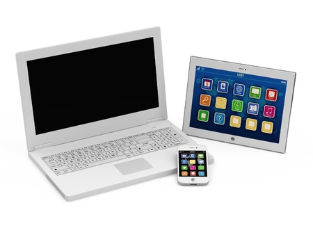 Laptop, Smart Phone and Tablet PC isolated on white background photo