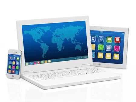 raton: Ordenador port�til, tel�fono inteligente y Tablet PC aislado en fondo blanco Foto de archivo