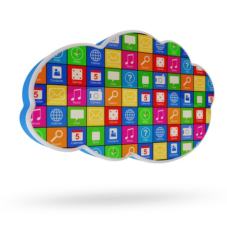 cloud storage: Cloud Computing Symbol with Apps isolated on white background