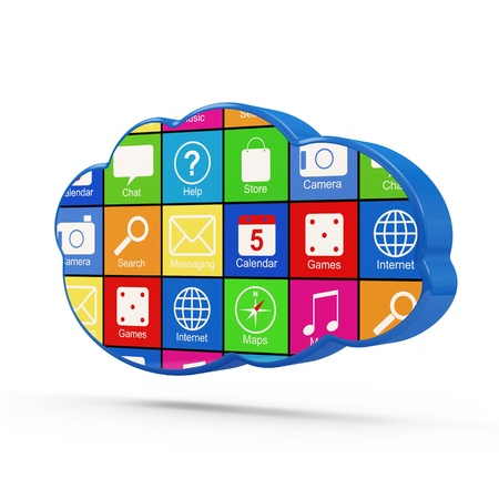 Cloud Computing Symbol with Apps isolated on white background photo