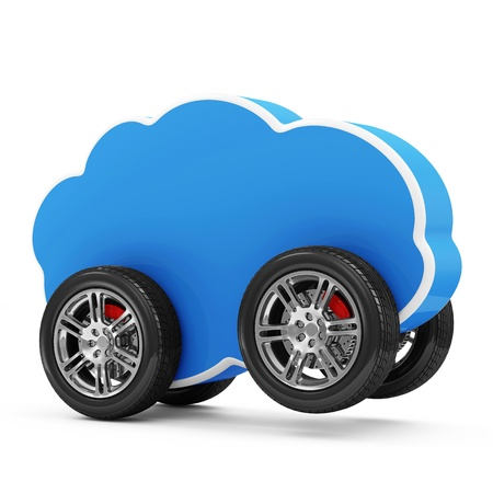 Cloud Computing Symbol on Wheels isolated on white background photo