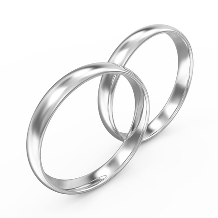 silver ring: Platinum Wedding Rings isolated on white background