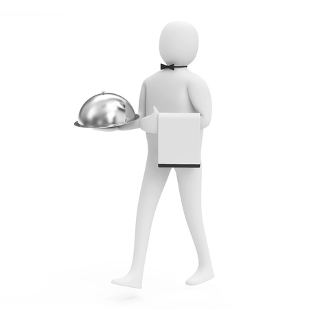 serve: 3d Man Waiter with Silver Tray isolated on white background