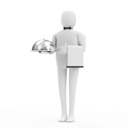 3d Man Waiter with Silver Tray isolated on white background photo