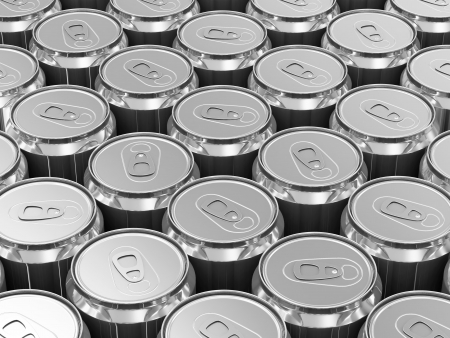 Group of Metal Beer Cans photo