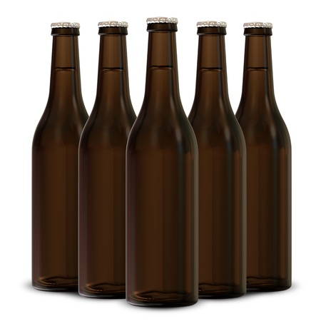 fresh brewed: Group of Beer Bottles isolated on white background