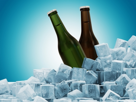 green beer: Bottles of Beer in Ice Cubes on blue background Stock Photo