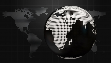 Style Dark Business background with doted globe and world map photo