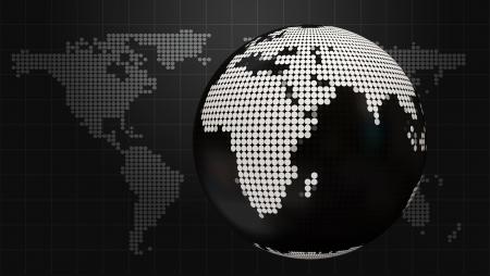 worldmap: Style Dark Business background with doted globe and world map Stock Photo