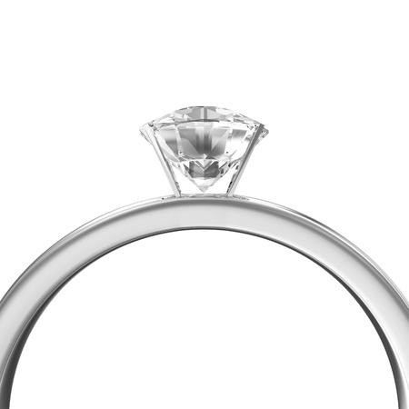 anillo de compromiso: Anillo de bodas de platino con diamantes aislado en fondo blanco