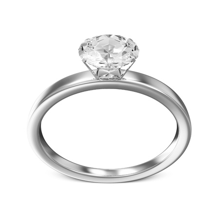 ring light: Platinum Wedding Ring with Diamond isolated on white background