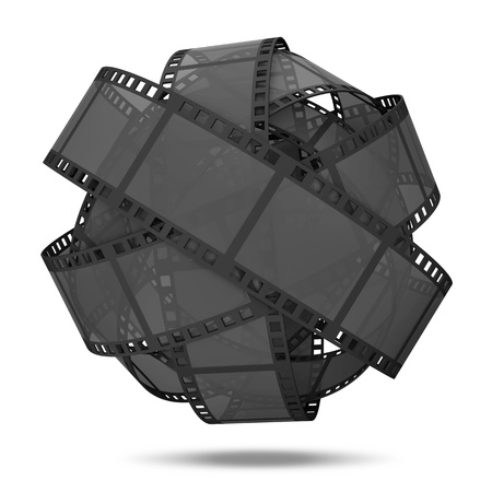 3d film: Abstract Sphere From Classic Film Strip isolated on white background