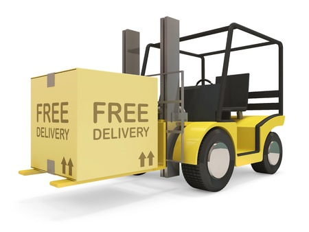 Industrial Forklift with Carton Box on white background photo