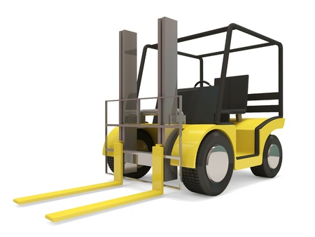 Industrial Forklift on white background photo