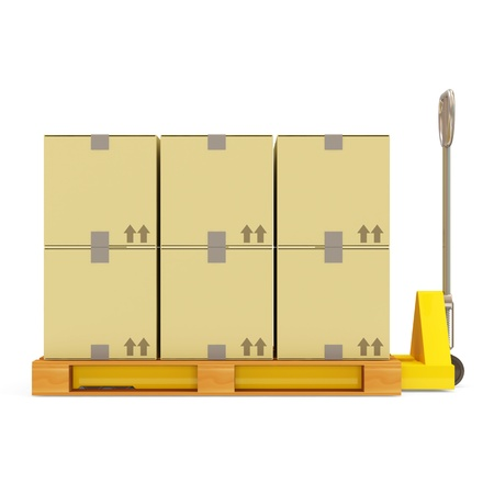 Pallet Truck with Carton Boxes isolated on white background photo