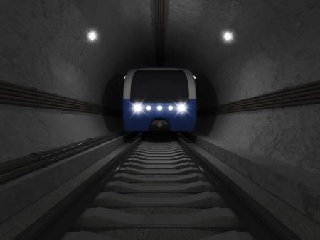 3d illustration of Modern Train going trough the Underground Tunnel illustration