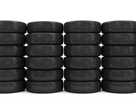 Stack of Car Tires isolated on white background with place for your text Stock Photo - 20240919