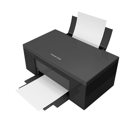 3d Black Printer with paper isolated on white background Stock Photo - 20241141