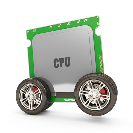 microprocessors: Modern CPU - Central Processing Unit on Wheels isolated on white background