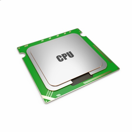 Modern CPU - Central Processing Unit isolated on white background photo