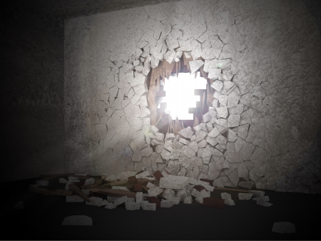 hitting a wall: Grunge Room Interior with Sun Rays Breaking Through the Hole in the Concrete Wall
