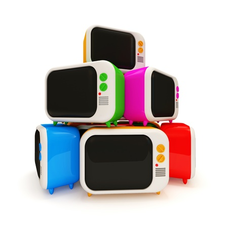 Heap of Colorful Retro TV on white background photo